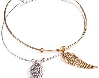 Bangle Gardian Angel Wing Bracelet (Gold or SIlver)