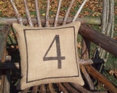 Number Pillow - Decorative Pillow - Burlap Pillow - Industrial Decor - Rustic Pillow - Other Colors Available - Number Home Decor