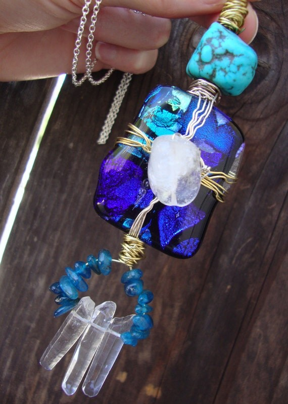 The most unique HUGE wire wrapped free form dichroic glass turquoise and quartz on long silver chain