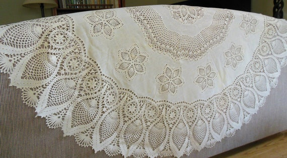 Vinyl Plastic Lace Tablecloth 60 Round Crocheted Look