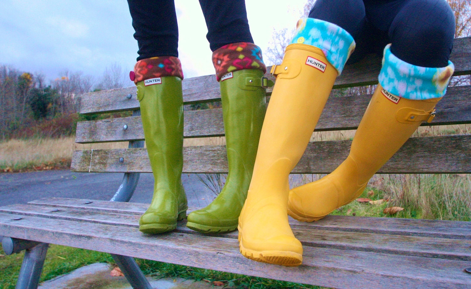 Tall Boot Socks SLUGS Fleece Rain Boot Liners Turquoise With A