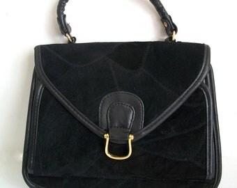 Vintage Black Handbag/ Black Purse/Short Handle Satchel