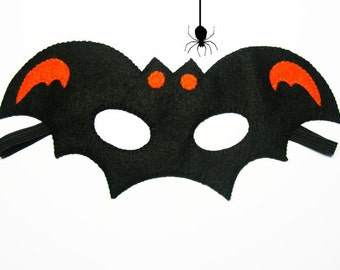 Bat Halloween mask party favor Orange Black for kids boy adult Handmade soft felt Masquerade costume Monster party Dress up play accessory