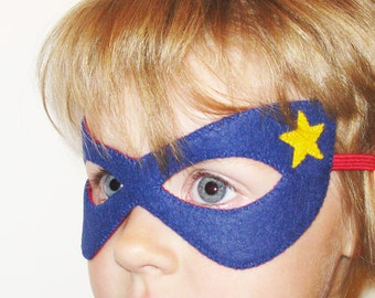 Superhero felt mask (2-10 years) - Blue Red Yellow star - for boys girls - soft photo prop pretend Dress up play accessory