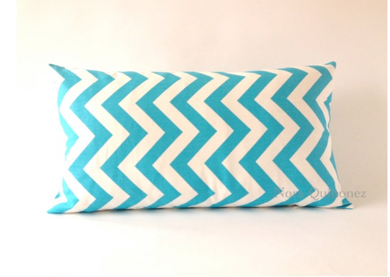 10x20 Aqua and White Chevron Decorative Bolster Pillow Cover- Medium Weight Cotton Print- Invisible Zipper Closure- Cushion Cover