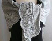 Knitting Pattern Shawl, Farniente 2  (large version) Scarf Grey Wool Silk Alpaca - DIGITAL PDF PATTERN