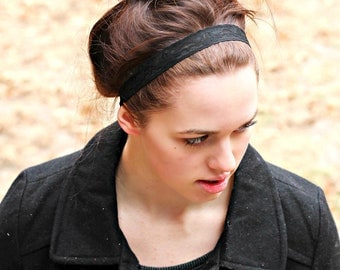 Black Lacey Trim Headband, Thin Dark Lace Elastic Headband, 1 inch lace headband