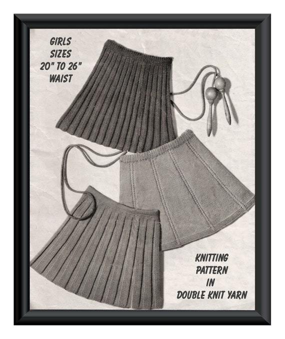 "Instant Download PDF : Vintage Seventies  KNITTING PATTERN  to make three styles of flared and pleated girls skirts to fit 20"" to 28"" Waist"