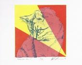 Meowza No 1 - Silkscreen Print of a Cat Portrait - 5x5