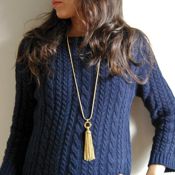 LIZ Liz Claiborne Goldtone Snake Chain Tassel Necklace