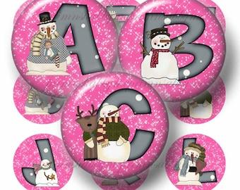 SNOWMAN 1 Inch Circles PINK ALPHABET Bottle Cap Images (No. 1) Digital Collage Sheet Buy 3 Get 3 Free