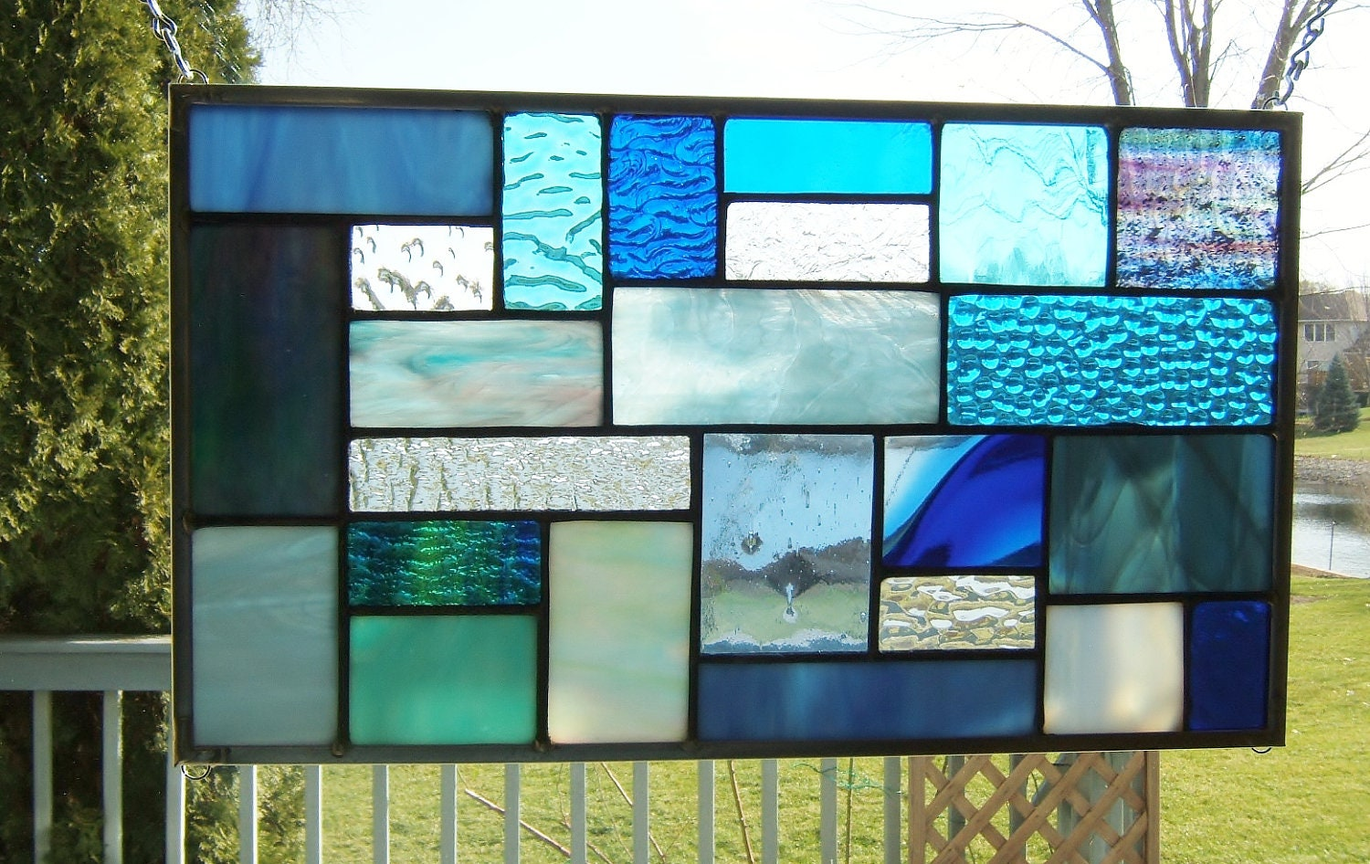 Blues Stained Glass Panel Window Hanging Geometric Abstract