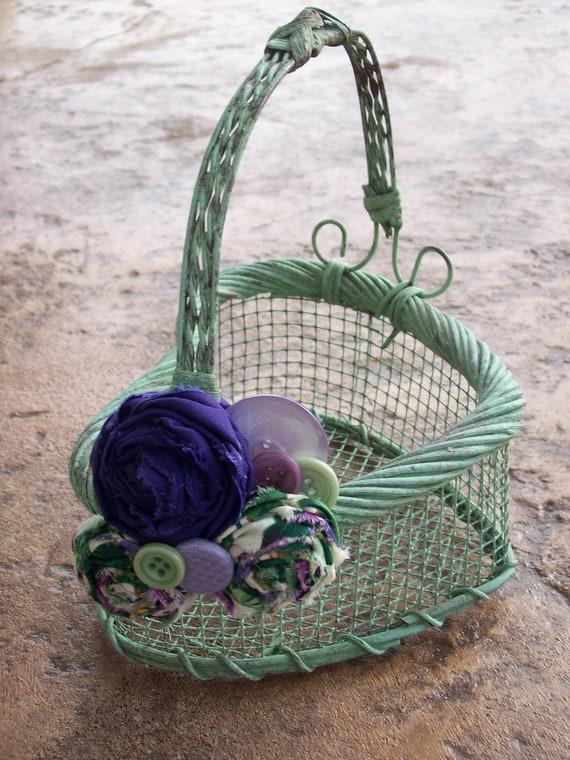 Flower Girl Baskets Green : Rustic flower girl basket sale purple and green wedding