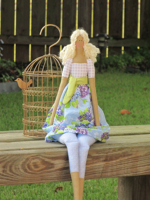 Lovely fabric doll in blue lilac dress blonde cloth doll- art doll cute stuffed doll - Christmas gift for girls