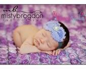 Baby headbands. Lavender rosette rhinestone flower on gray headband, baby headbands, newborn headbands, infant, toddler, adult