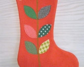 Upcycled Red Knit Modern Applique Chritmas Stocking