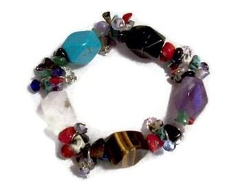 Chunky Gemstone Bracelet Chakra Jewelry Beaded Bracelet