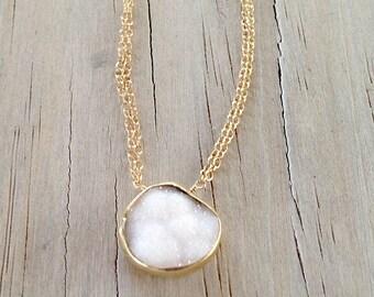 White Necklace - Druzy Jewelry - Crystal Quartz Jewellery - Gold Chain - Gemstone