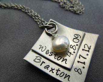 Mothers necklace, hand stamped stainless steel squares