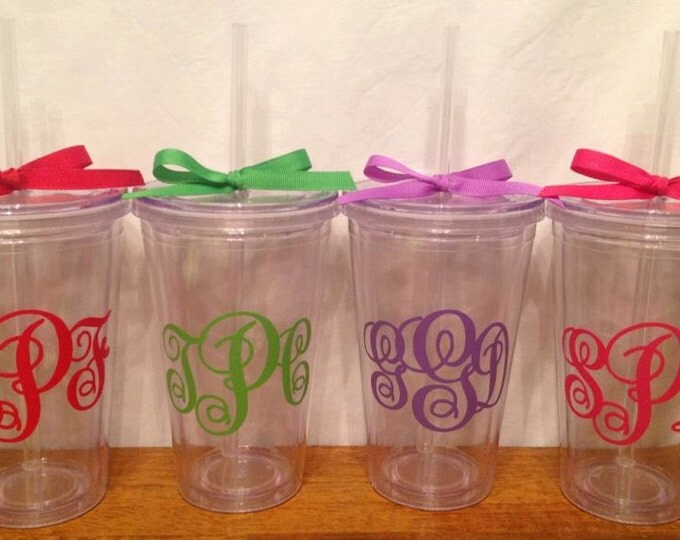 10 Personalized Clear ACRYLIC TUMBLERS with 3-letter MONOGRAM lid, straw, polka dots Great Christmas Gift Stocking Stuffer for Friend Family