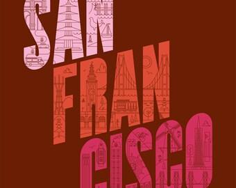 Enjoy San Francisco Poster - 18 x 24 (Red)