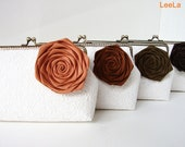 Rustic Fall Wedding Ideas/ Set of 4 Personalized Bridesmaid Gifts, Burnt Orange and shade of brown silk rose removeable Flower