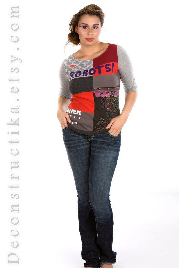 Robots Upcycled top, size L