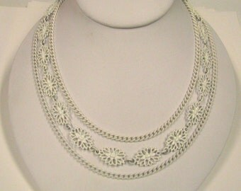 Vintage White Enamel Multi Chain Monet Necklace, Perfect for Gift Giving