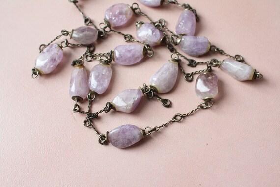 amethyst necklace / deco amethyst stone necklace / long necklace