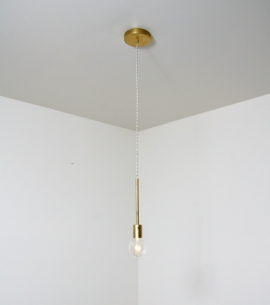 Unique Handmade Brass Single Pendant Light Fixture By