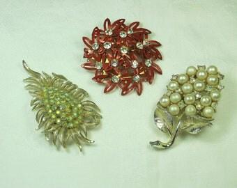 Vintage RHINESTONE BROOCH Set/3 Retro Pin Jewelry Gift