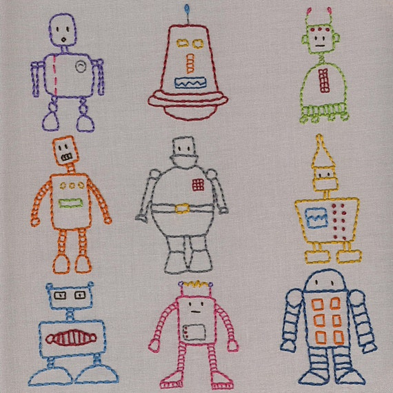 Robots Embroidery Pattern PDF