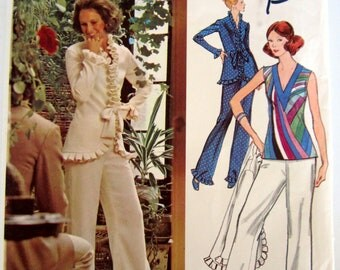 Vogue Emilio Pucci Pattern 2712 Bellbottoms Top Jacket Uncut Factory Folded & Couturier Tag-Vintage 1970s-34 Bust