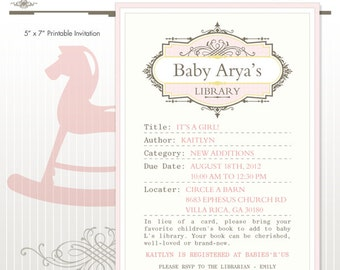 Library Book Baby Shower Printable Invitation - DIY Print - Baby Girl - It's A Girl