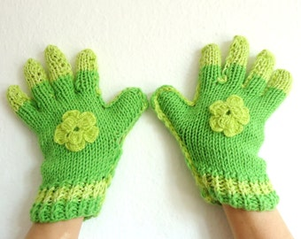 hand-knitted, green, finger gloves.