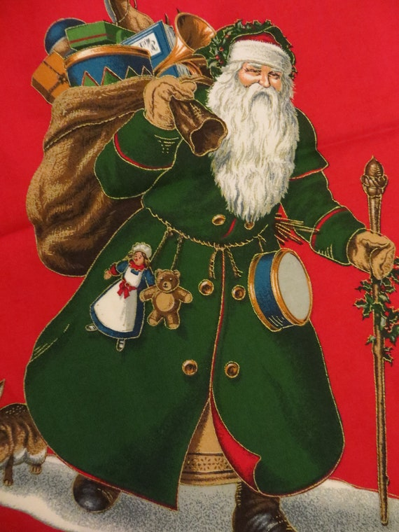 Christmas Fabric Craft Panel Olde Father Christmas By
