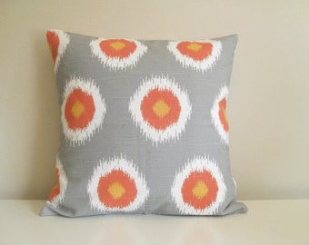 CLEARANCE 50% OFF Orange and Gray Pillow Cover. Ikat Dots. Decorative Throw Pillow Covers. 18X18 Inches.