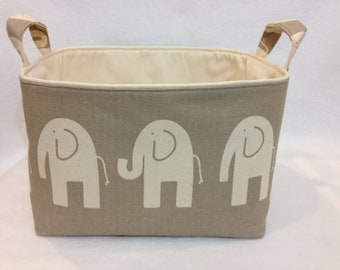 "Med 10""x10""x 7"" Fabric Storage Bin, Basket Organizer Elephant in Natural/Taupe"