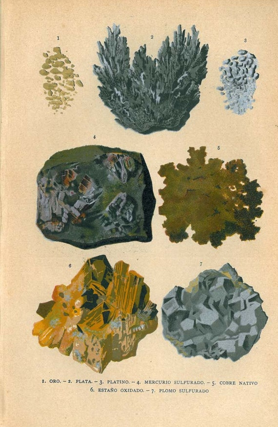 Antique Print Metals: Gold Silver Platinum Mercury Copper Tin Lead 1920s Mineral Geology