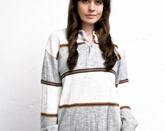 Boyfriend Style Sweater . Vintage 1970s Oversized Neutral Striped Sweater. Size Large