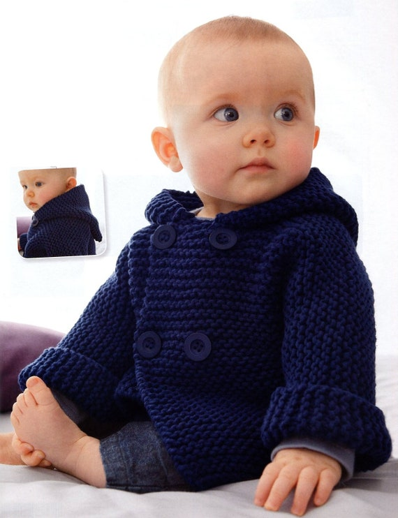 Knitting Pattern Hooded Jacket Toddler : ENGLISH Garter Stitch Baby Hooded Jacket Beginner Knitting