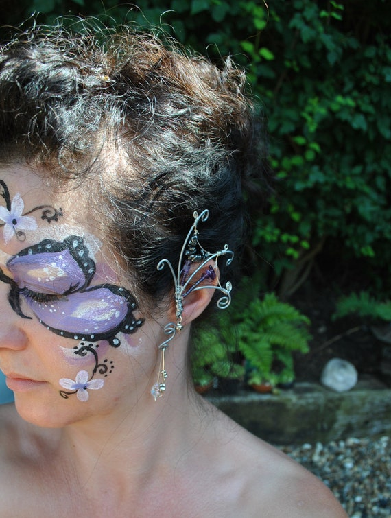 butterfly ear cuff metal and purple amethyst hematite beads