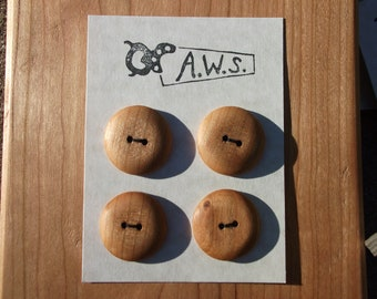 Four Wood Buttons Cherry (One inch)