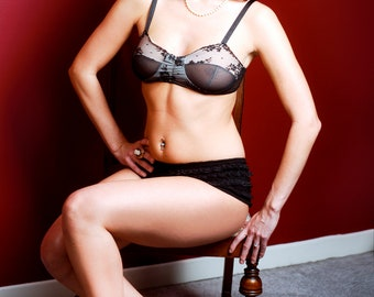 Femme Soft Cup Bra with vintage lace and mesh detail**