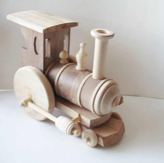 Wooden Toy Trains : Children s toy train engine natural wood