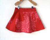 Marimekko 3T Holiday Skirt - Festive Red Cotton