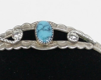 Reduced...Vintage Bell Trading Post Nickel Silver and Turquoise Children's Cuff Bracelet Circa 1960s or earlier
