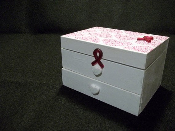 Pink Ribbon Breast Cancer Themed Jewelry Box