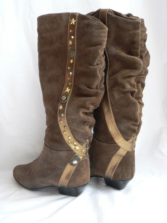 OLIVE Green SUEDE BEDAZZLED Boots 8 - 8.5