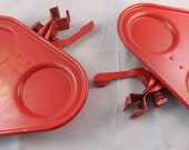 Vintage Card Partners 1940's Card Table  Service Trays SET Of 2 Red METAL in Box Essential Product Co. Free US Shipping